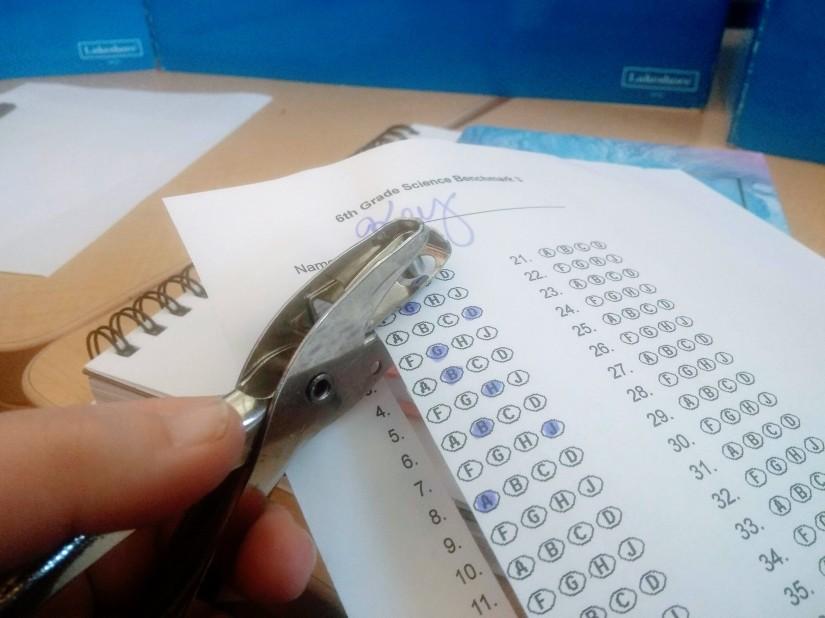 Hole punch answer key sheet grading bubble grader multiple choice