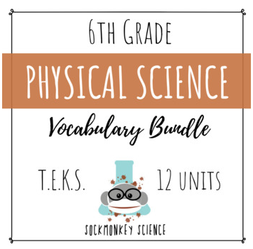 6th grade science vocabulary texas teks streamlined