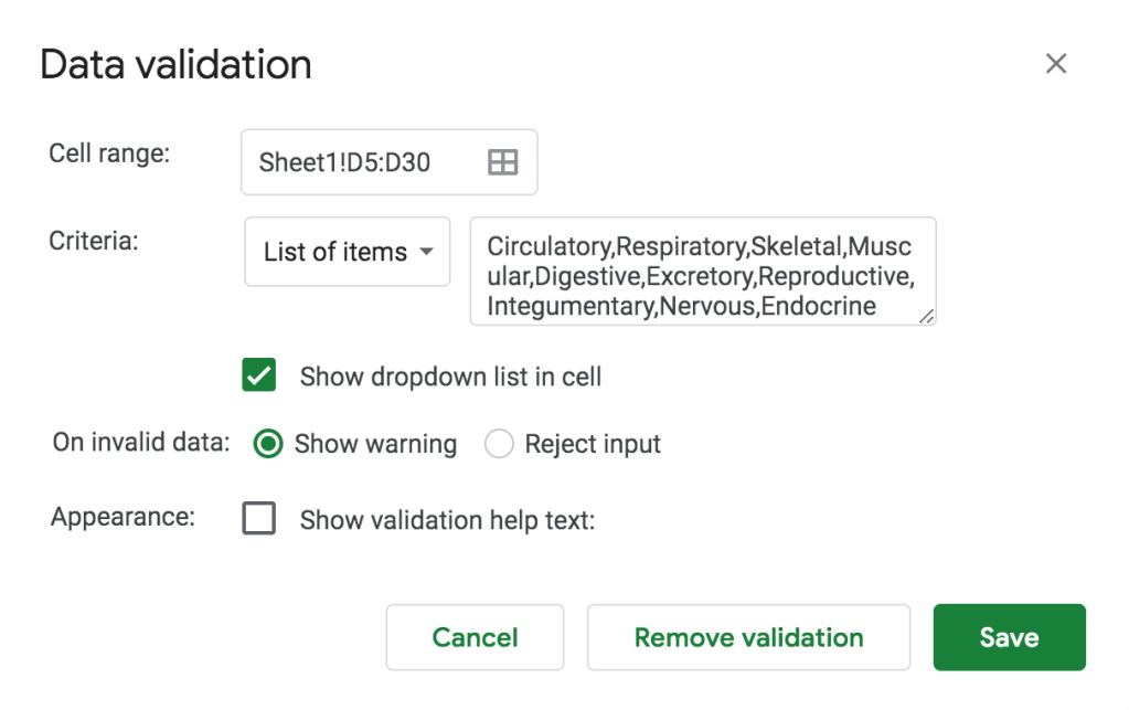 data validation drop down many google sheets education teacher